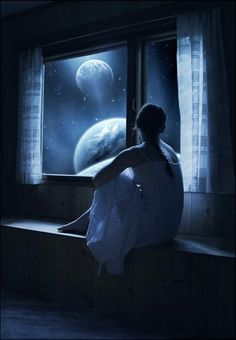 Image result for girl sitting in moonlight