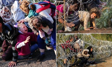 A young migrant's hair becomes stuck whi